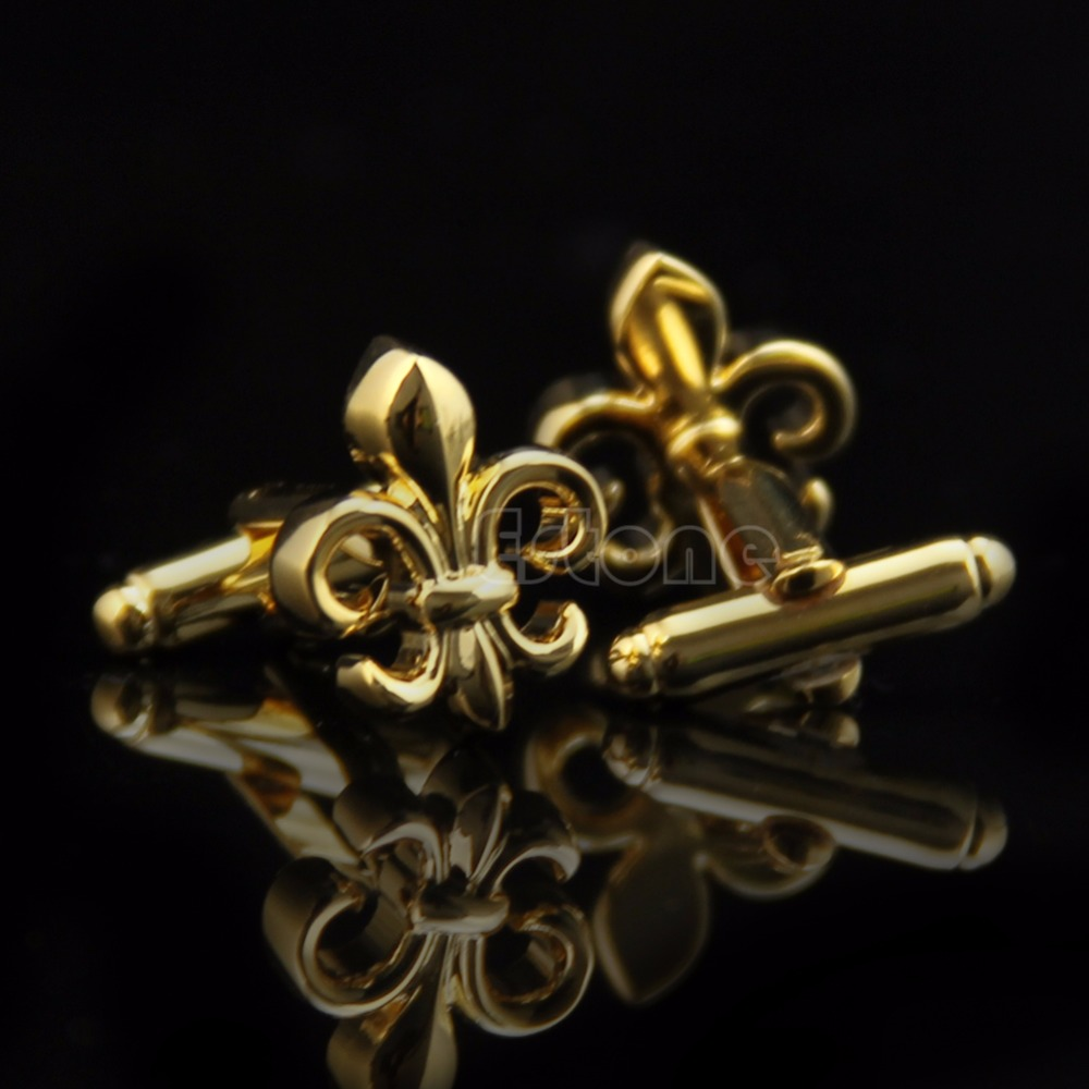 Fancy Golden Color Fleur De Lis Cufflinks Wedding Groom Shirt Men's Cuff Links T15