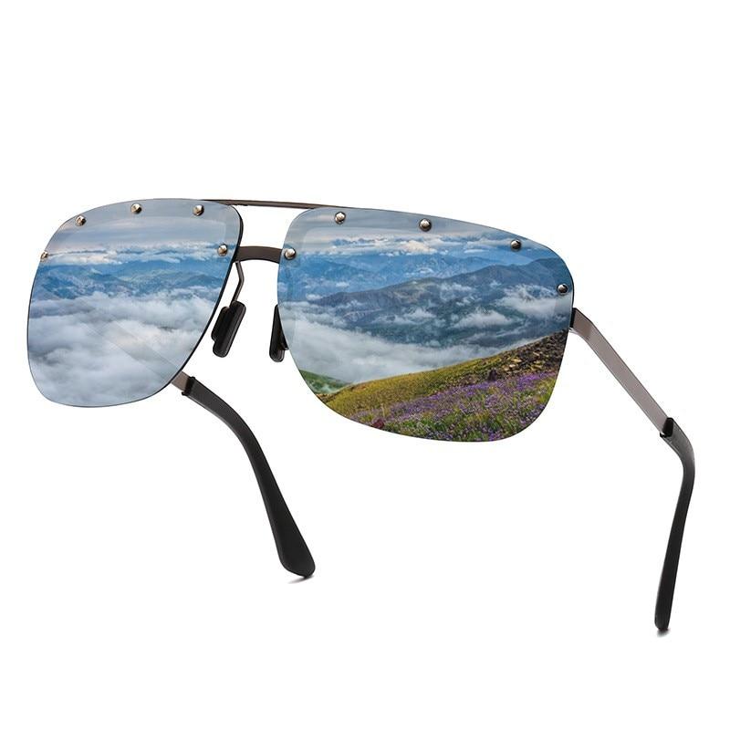 Classic Luxury Mens Polarized Sunglasses Fashion Brand Designer Square Male Personality Punk Rivets UV400