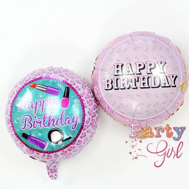 04c6e70882c3 18inch 10pcs/lot happy birthday balloon birthday party lipstick nail polish leopard  foil balloons decoration