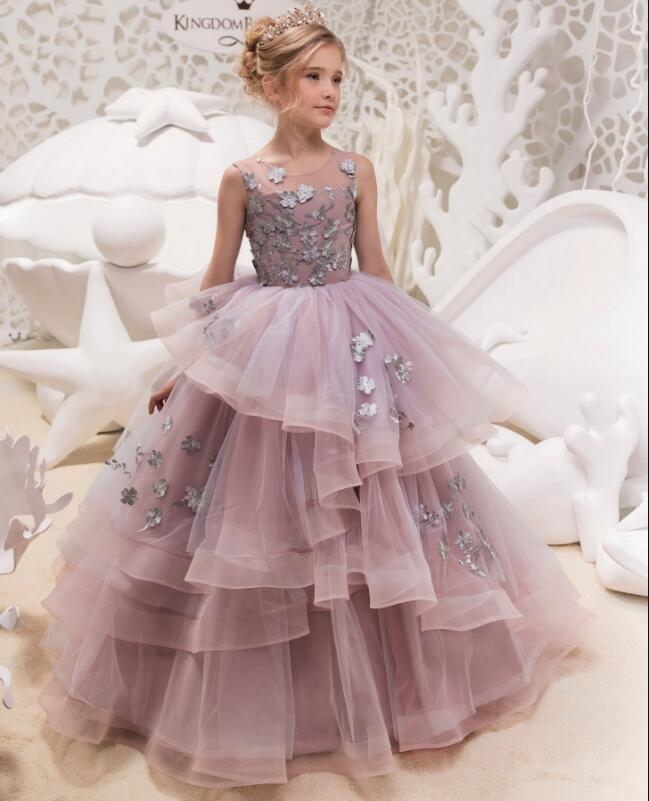Lavender Gorgeous Flower Girl Dress for Weddings Lace Beaded Ball Gown Girl Party Communion Dress Pageant Gown Custom Size high low flower girl dresses beaded organza ruffles v neck first communion dress 2018 girls pageant gown custom any size