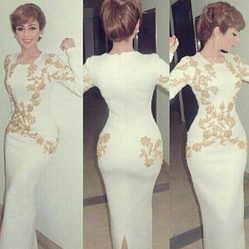 2018 Elegant Dubai Middle Evening Long Sleeve Appliques Prom Party Gown Vestido De Festa Custom Mother Of The Bride Dresses
