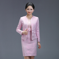 2017 Free Shipping High Quality Fashion Autumn Winter New Pink Suit Dress Wedding Mid Aged Women