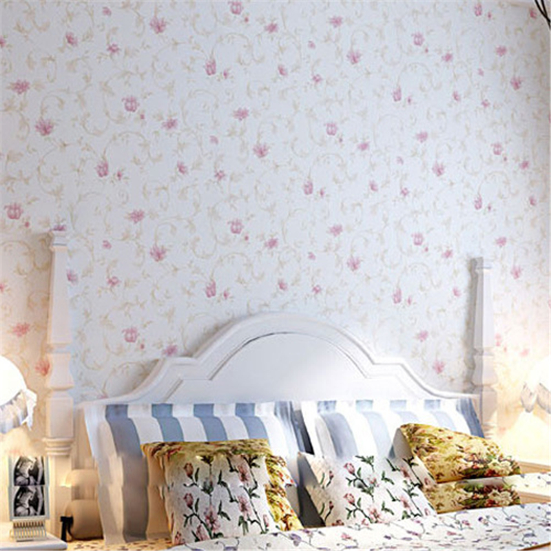 beibehang Green garden romantic pink floral wallpaper 3D bedroom TV background wall non-woven wallpaper beibehang girl pink garden flowers 3d wallpaper non woven wall paper children s room princess bedroom bedroom romantic and warm