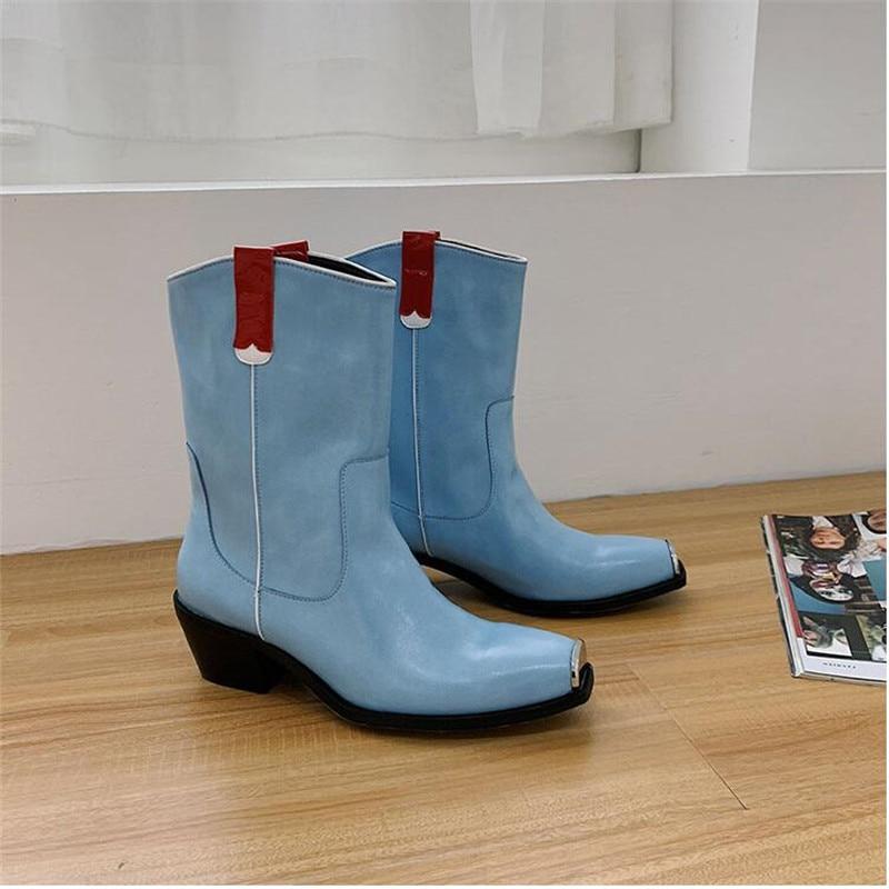 Véritable Courtes Bleu Métal Femmes Bottes Cuir Glissent Carré Femme Chunky white Cheville D'hiver Blanc En Bout Chaussures Blue Talons Sur IW6Cq6wY