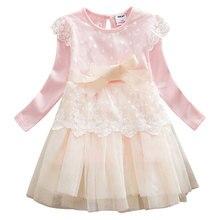 Girls' Dress Fashion Long Sleeve Lace Embroidery Mesh Matching Bow Belt O Neck Princess Dress цена и фото