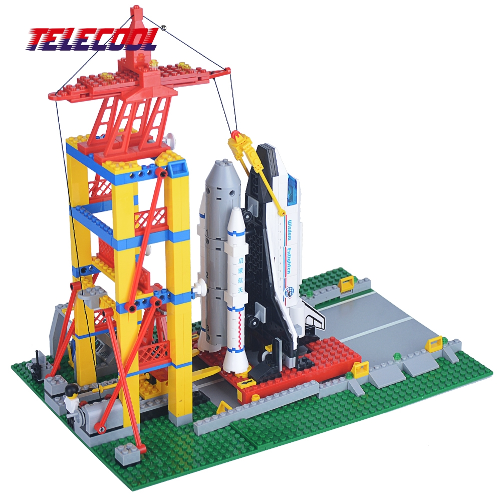 TELECOOL 584 PCS 515 Space Series Building Blocks Aircraft Launch Base Building Blocks Brick Kid Toys Gift Compatible with Lepin lepin 02012 city deepwater exploration vessel 60095 building blocks policeman toys children compatible with lego gift kid sets