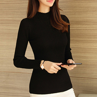 Autumn Winter Knitted Sweater Womens Pullover Ladies Stand Collar Pullover Plus Size Bottoming Burderry Tight Female