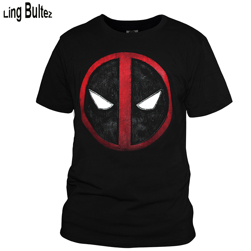 Ling Bultez High Quality Deadpool Tshirt Black Mens T shirt Summer Deadpool Casual Tshirt