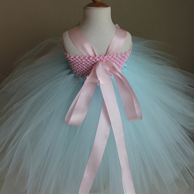 Online Shop Candy Sky Blue and Light Pink Flower Girl Tutu Dress ...