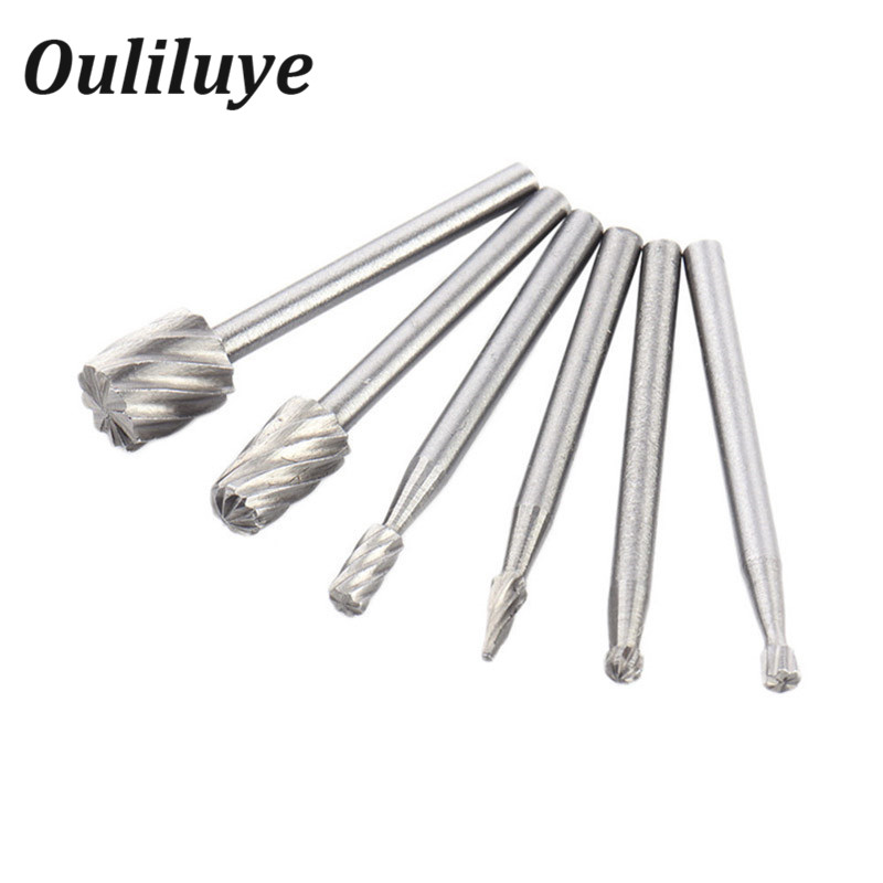 6PCS HSS Mini Multi Drill Bits Wood Rotary Burrs Milling Cutter Set For Woodworking Carving For Dremel Accessories Rotary Tools
