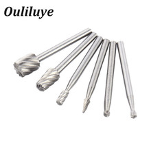 6PCS HSS Mini Multi Drill Bits Wood Rotary Burrs Milling Cutter Set for Woodworking Carving Dremel Accessories Tools