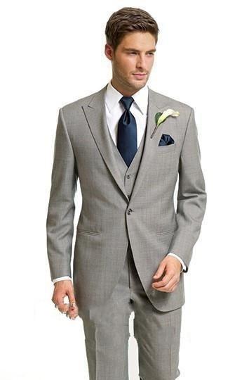Custom Made Suits Light Gray 3 Piece Wedding Tuxedo One Button Peak Collar 2019