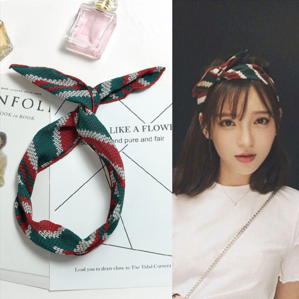 Women Cute Rabbit Bunny Ears Girl Hair Wrap Headband Scarf DIY Wire Band Bow New