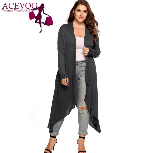 ACEVOG Long Cardigan Women Plus Size Autumn Open Front Solid Draped Asymmetrical Hem Long Sleeve Thin Long Sweater Oversize 5XL