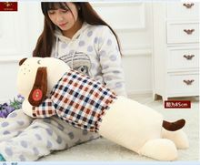 new creative middle plush white dog pillow cute check cloth dog doll gift about 85cm