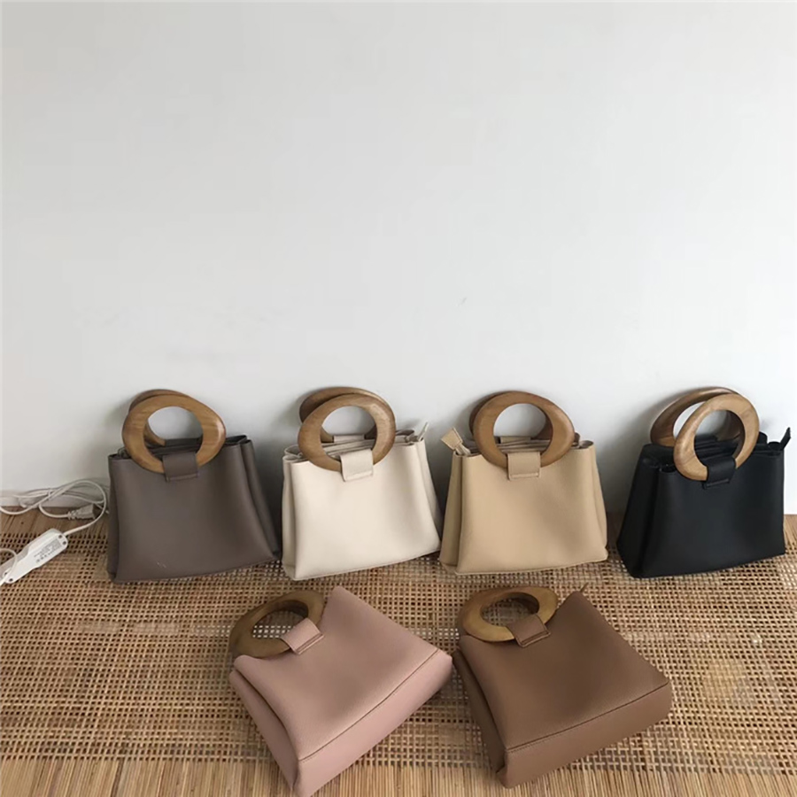 Brand Wooden Ring Totes Bags For Women Casual Shoulder Messenger Bag Cross Body Bags Luxury Handbags Women Bag Design Purse 2020