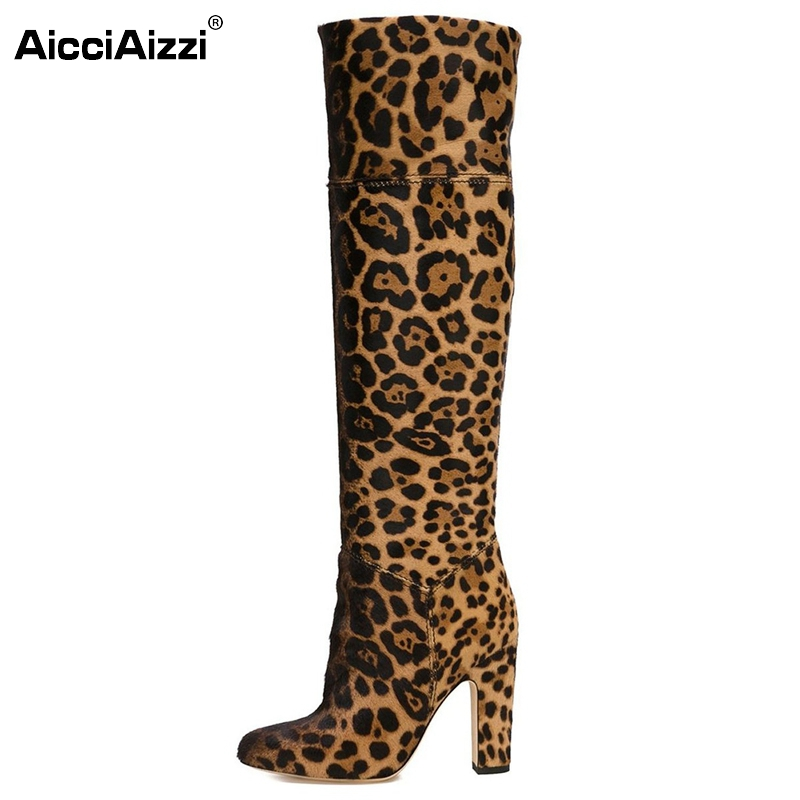 New Fashion Women Knee-high Boots Female Sexy Pointed Toe Square High Heels Leopard Boots Shoes Woman Size 35-46 B133