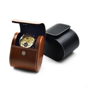 Image 4 - Fanxi saco de relógio preto couro do plutônio caso relógio de pulso com zíper caixa de jóias viagem portátil duas camadas de relógio organizador