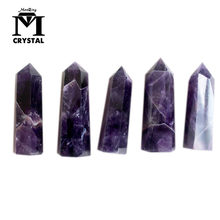wholesale Natural Dream Amethyst Hexagonal Column Crystal quartz Point Healing Wand Mineral Crystal Home Decoration Stone(China)