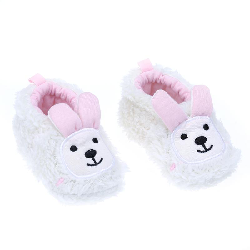 Winter Cute Rabbit Warm Shoes for Newborn First Walker Coral Velvet Anti-slip Casual Footwear for Baby 6 to 18 Month