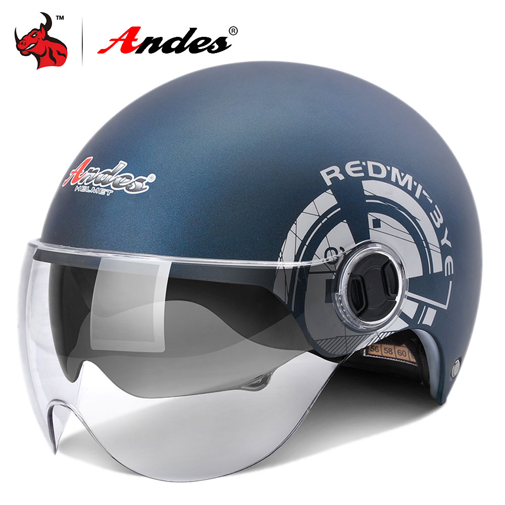Andes Motorcycle Helmet 3/4 Open Face Moto Helmets Summer Scooter Unisex Motorbike Helmet With Inner Visor Capacete Moto