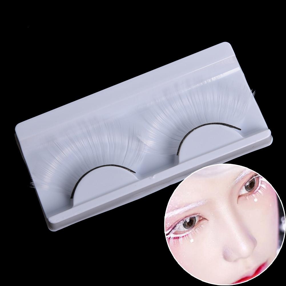 1 Pairs White Eyelashes Cosplay Makeup Natural Long Cross Strip False Eye Lashes Latest Fashion