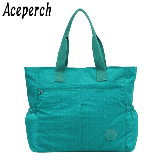 Aceperch New Luxury Handbags Women Bags Waterproof Nylon Message Black Sac A Main Bolsa Couro Feminina