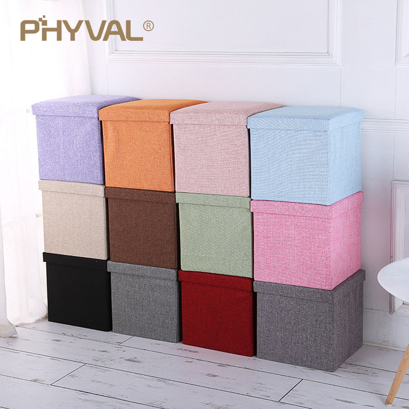 Storage Stool Folding Chairs Change Shoe Bench Footstool Multifunction Square Small Furniture  Storage Box Home Decoration Chair
