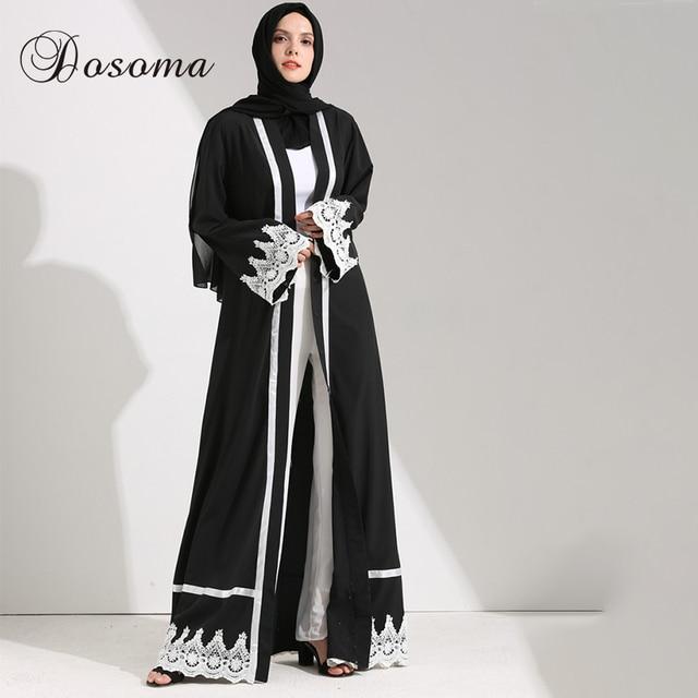 8651a4d2116 Túnica Kimono Abaya Jilbab Fajas Larga Dubai Abierta Vestidos Encaje  Ramadan Maxi Mujeres Musulmanas Cardigan Vestido POwiTkXuZ