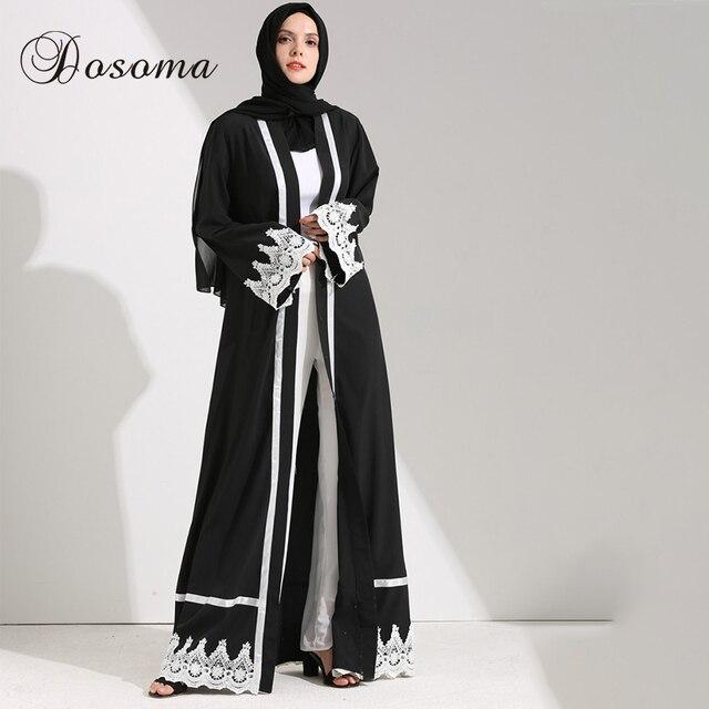 Muslim Women Maxi Dress Open Abaya Lace Jilbab Sashes Long Robe ...