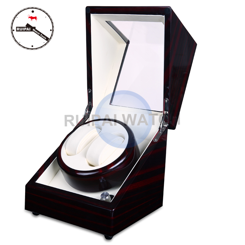 2+0 Wooden Paiting High Light Ivory Leather lining Watch Winder, 2 Borders 5 Modes Watch Winder 4 0 red glossy suface white inside 4 channel automatic watch winder 5 modes cherry wooden automatic watch winder