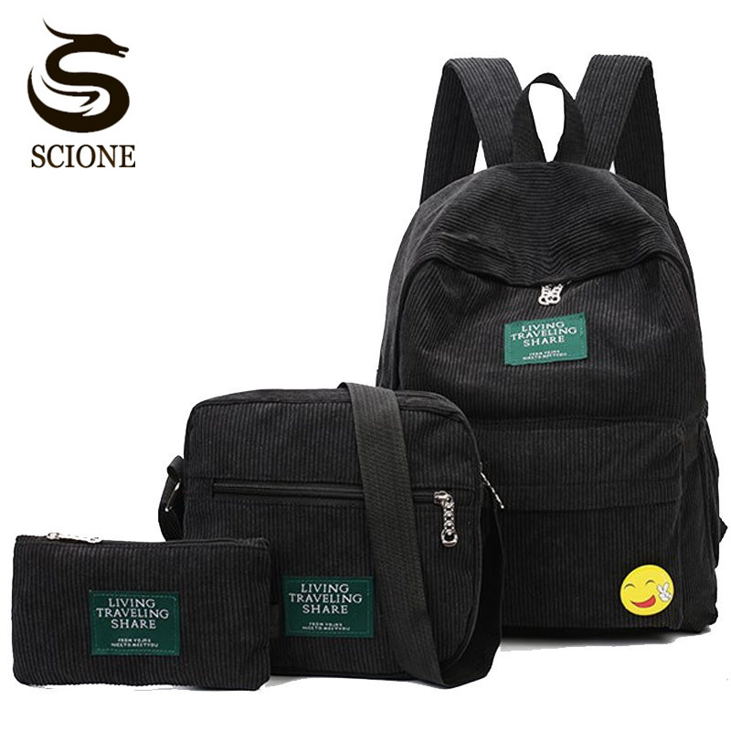 Scione Embroidery Backpack Casual Preppy School Backpacks Travel Rucksack Large Capacity Back Pack Bag 3PCS/Set Unisex Schoolbag playmobil® детская клиника рентгеновский кабинет playmobil