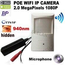1080 P POE estilo PIR del Detector de movimiento WIFI ONVIF 48 unids 940nm infrarrojos de visión nocturna P2P Plug and Play Mini WIFI del IP del POE mni