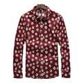 Men's Print Shirts Brand design Owl pattern Long Sleeves High Quality shirt Casual Plus Size shirt Slim Fit Dress Shirts