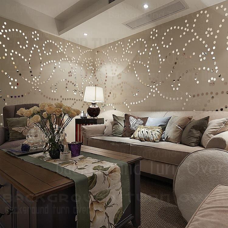 DIY Pastoral 3d Flower Wall Sticker Living Room Girl Room Bedroom Hair Salon  Decor Plastic Mirror