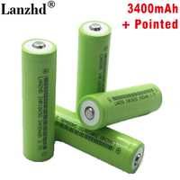 New Battery 18650 li ion 3.7v 3400mah Lithium Rechargeable Battery INR18650B with Pointed For flashlight batteries (8 40pcs)