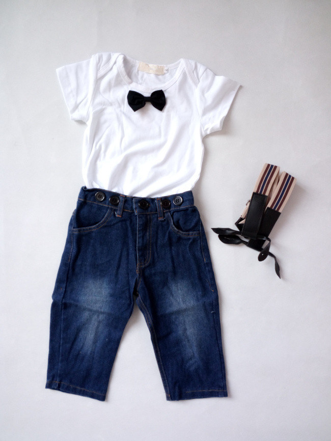 2Pcs Korean Style Baby Boys Summer Clothing Sets Toddlers Short Sleeve Bow Knot T-shirt+Denim Overalls Suit Boys Gentleman Sets