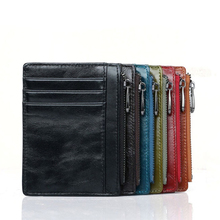 cow genuine leather Oil Wax mini zipper coin wallet bank id credit card small holder driver license men women thin short sale