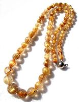 huij 004185 Natural Golden Rutilated Quartz Round Beads Necklace 5mm~11mm