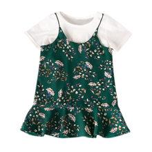 47e822d44d Enfant en bas âge fille robe florale jupe à manches courtes T-shirt Plus  jupe suspendue deux pièces Cocuk Giyim Kinderkleding Me.