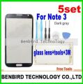 5set grey Front Glass Lens Touch Screen For Samsung Galaxy Note 3 N9000 N9005 +Tool+ not including 3M sticker attention YL5214