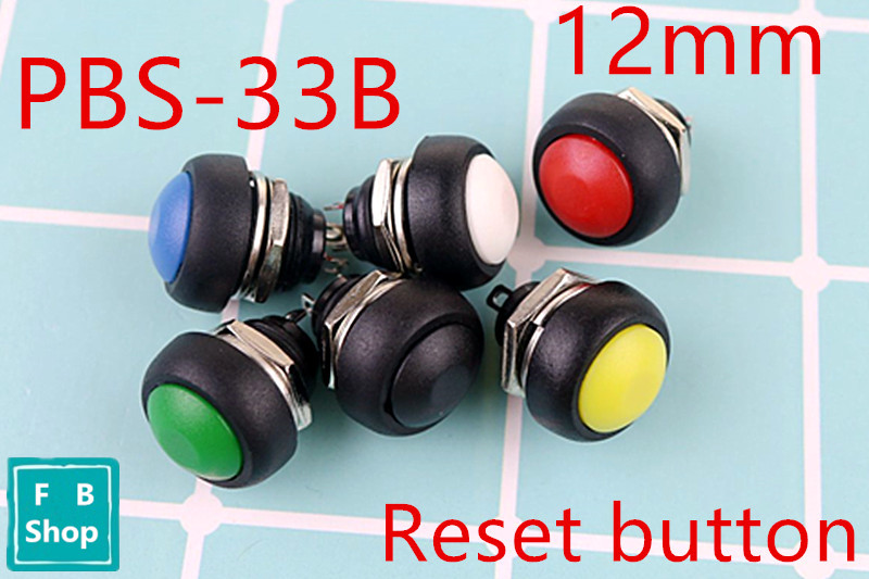 10Pcs PBS-33b Black/Red/Green/Yellow/Blue 12mm Waterproof Momentary Push button Switch
