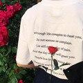 Пушкин Роза, если текст письма песни назад печать хлопка о шеи футболка с коротким рукавом гранж harajuku 2016 ulzzang топ