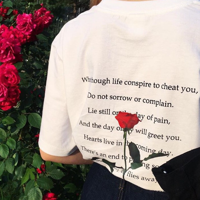 Rose Lyrics Text Letters Song Back Print Cotton O Neck