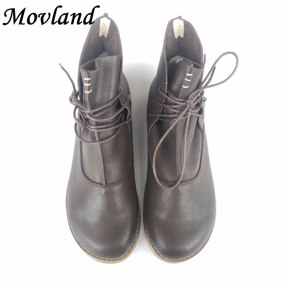 Movland-New Head layer cowhide pure handmade ankle half short boots ,Sen female casual Martin women's Boots,3 colors huifengazurrcs new pure handmade casual