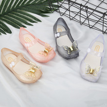 Cute Butterfly Kids Shoes Children Jelly Sandals for Girls Soft Bottom Princess Girl Party Shoe Size 22-27  Girl Silver Shoes