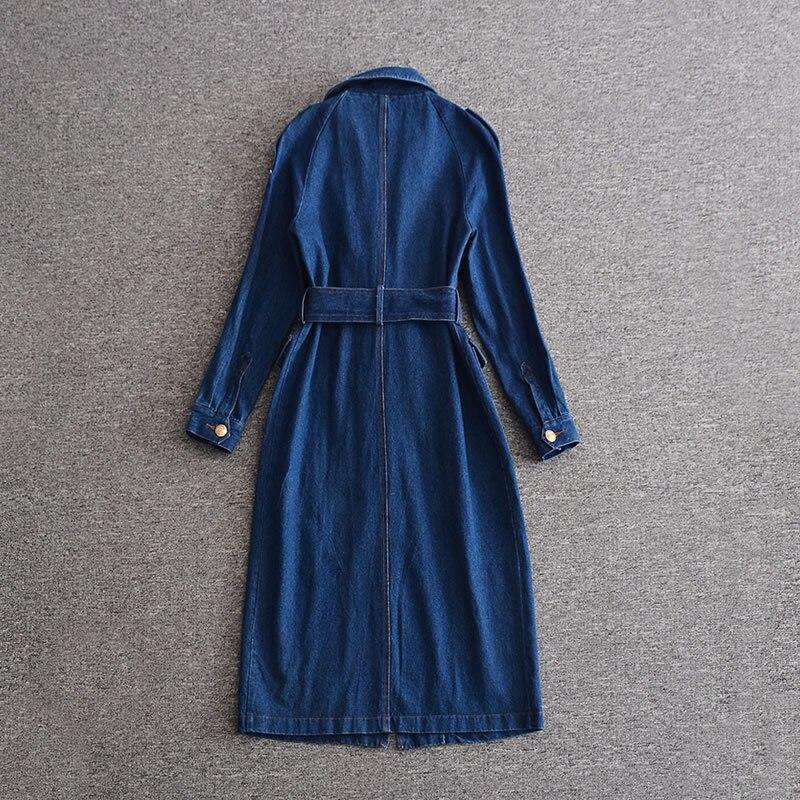 Vintage Bleu H8741 Trench À Femmes Avec Ceinture Élégant Longues Denim Manches 5rwq5cgW7v