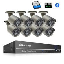 Techage 8CH 1080 P POE Камера система NVR 2mp h.265 Аудио Звук комплект системы охранного видеонаблюдения Всепогодный Видео Домашний набор безопасности 4 ТБ HDD