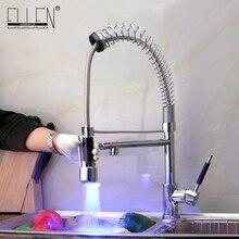 Смеситель для кухни pull out светодиодные смеситель для kicthen раковина 2 брызг воды хром латунь смесители