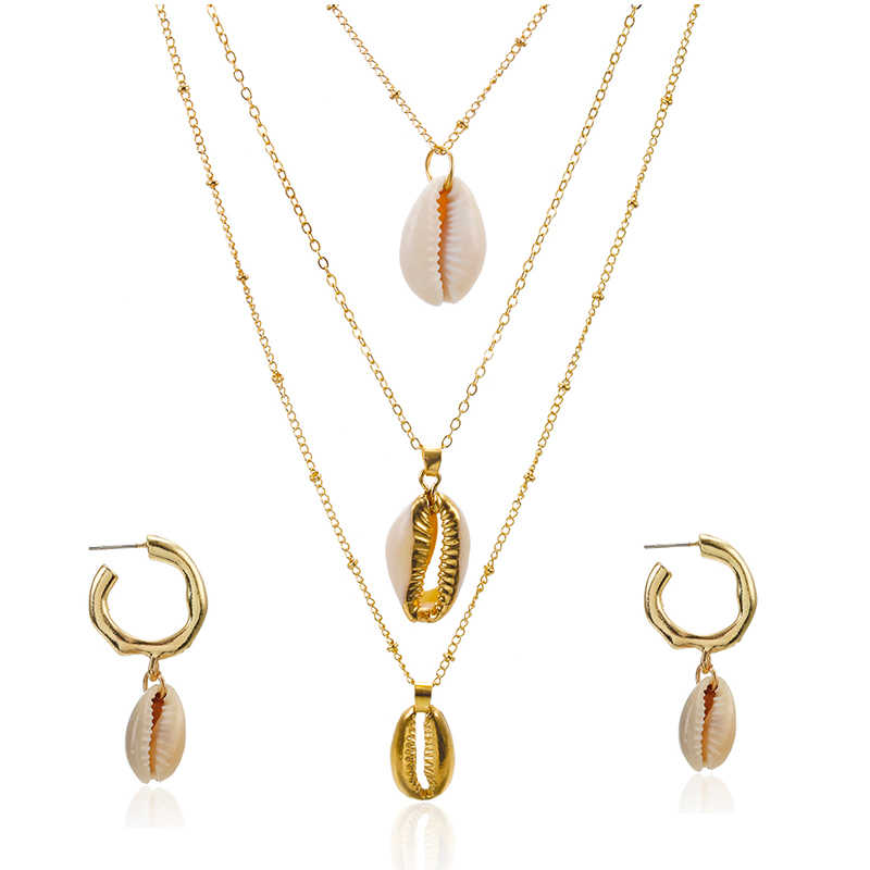 3UMeter New Design Bohemian Shell Necklace Set For Women Girls 2019 Fashion Shell Necklace Female Jewelry Gifts Drop Shipping